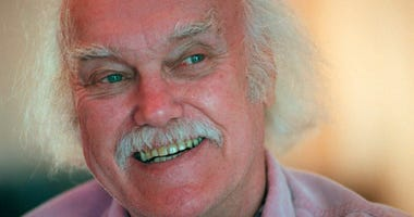 "Ram Dass, best known for the 1971 bestseller ""Be Here Now,"" smiles during an interview at his San Anselmo, Calif., home."