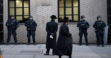 Orthodox Jewish men at a Brooklyn synagogue