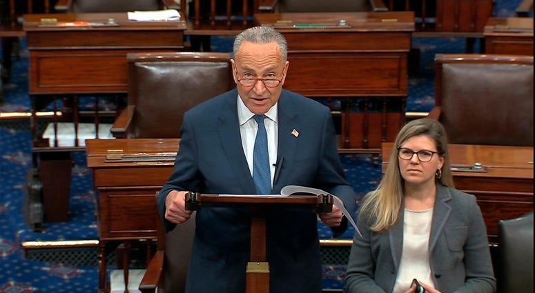 Senate Minority Chuck Schumer of N.Y., speaks on the Senate floor, Friday, Jan. 3, 2020 at the Capitol in Washington.