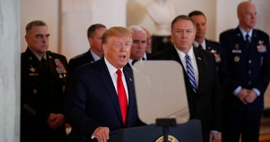 President Donald Trump addresses the nation from the White House on the ballistic missile strike that Iran launched against Iraqi air bases housing U.S. troops, Wednesday, Jan. 8, 2020, in Washington.