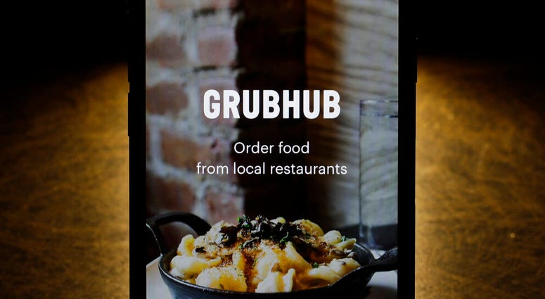 The Grubhub app on an iPhone in Chicago.