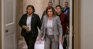 Speaker of the House Nancy Pelosi arrives at the Capitol in Washington, D.C. on Friday.