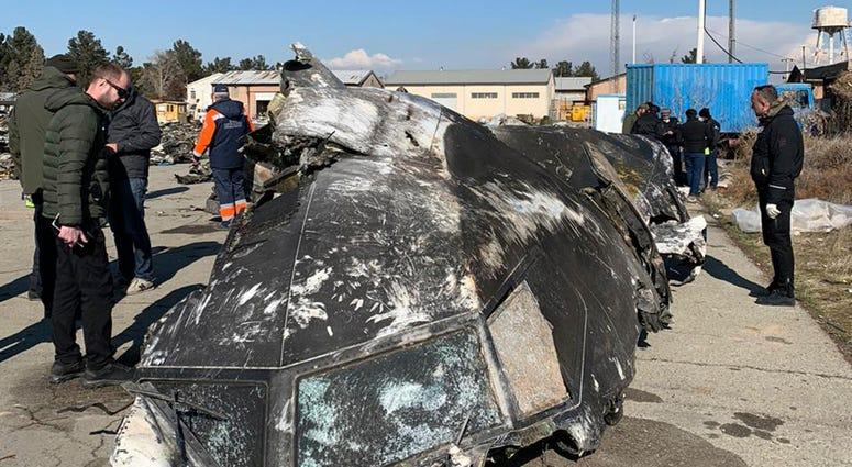 Wreckage of Ukraine International Airlines Boeing 737-800