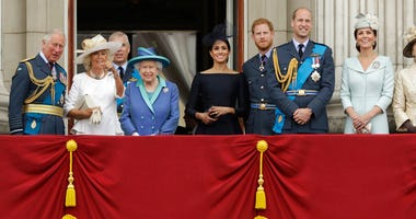 In this Tuesday, July 10, 2018 file photo, members of the royal family gather on the balcony of Buckingham Palace.