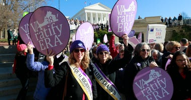 Equal Rights Amendment supporters demonstrate outside Virginia State Capitol in Richmond, Va., on Jan. 8, 2020.