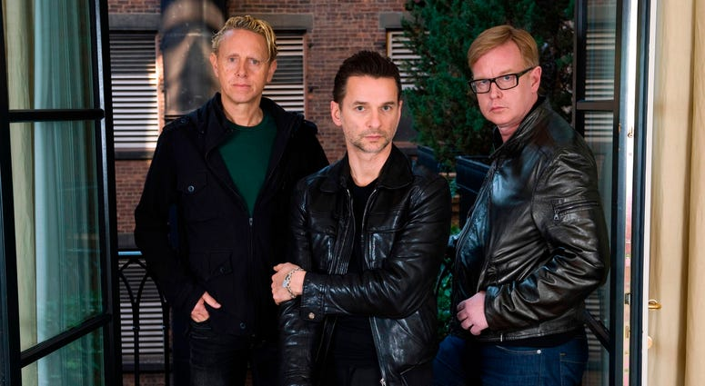 This Feb. 11, 2009 file photo shows Depeche Mode members Martin Gore, left, Dave Gahan and Andrew Fletcher, right, in New York.