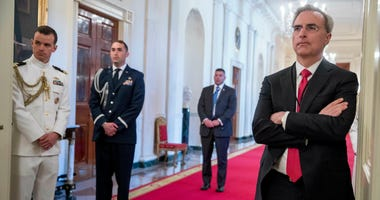 White House Counsel Pat Cipollone, right, attends a Public Safety Officer Medal of Valor presentation ceremony in the East Room of the White House in Washington.