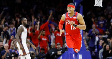 Philadelphia 76ers' Tobias Harris reacts after making a 3-pointer during the second half of an NBA basketball game against the Brooklyn Nets, Wednesday, Jan. 15, 2020, in Philadelphia.