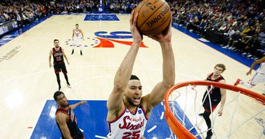 Philadelphia 76ers' Ben Simmons goes up for a dunk during the first half of an NBA basketball game against the Chicago Bulls, Friday, Jan. 17, 2020, in Philadelphia.