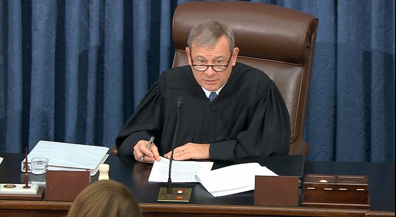 Presiding officer Supreme Court Chief Justice John Roberts speaks during the impeachment trial against President Donald Trump in the Senate at the U.S. Capitol in Washington, Tuesday, Jan. 21, 2020.