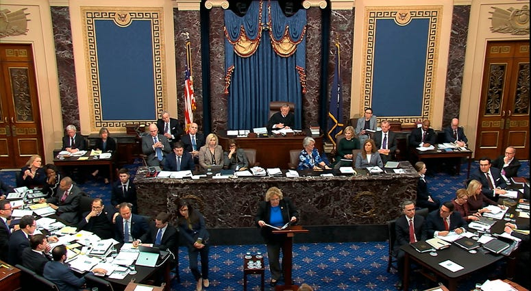 In this image from video, impeachment manager Rep. Zoe Lofgren, D-Calif., speaks in support of an amendment offered by Sen. Chuck Schumer, D-N.Y., during the impeachment trial against President Donald Trump in the Senate at the U.S. Capitol.