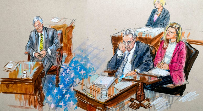 This artist sketch depicts Senate Majority Leader Mitch McConnell, R-Ky., left, and Senate Minority Leader Chuck Schumer, D-N.Y., right, listening to defense arguments in the impeachment trial of President Donald Trump.