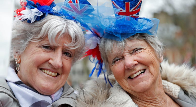 Brexiteers celebrate in London, Friday, Jan. 31, 2020. Britain officially leaves the European Union on Friday after a debilitating political period that has bitterly divided the nation since the 2016 Brexit referendum.