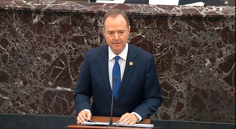 In this image from video, House impeachment manager Rep. Adam Schiff, D-Calif., speaks during closing arguments in the impeachment trial against President Donald Trump in the Senate at the U.S. Capitol in Washington, Monday, Feb. 3, 2020.