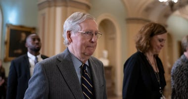 Senate Majority Leader Mitch McConnell, R-Ky., leaves after the Senate heard closing arguments in the impeachment trial of President Donald Trump on charges of abuse of power and obstruction of Congress, at the Capitol in Washington, Monday, Feb. 3, 2020.