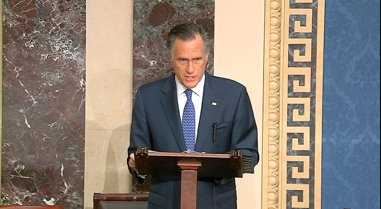 In this image from video, Sen. Mitt Romney, R-Utah, speaks on the Senate floor about the impeachment trial against President Donald Trump at the U.S. Capitol in Washington, Wednesday, Feb. 5, 2020.