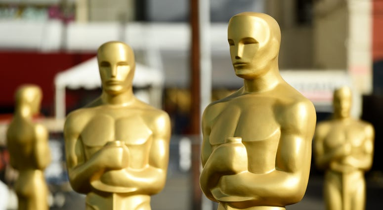 Oscar statues stand off of Hollywood Boulevard in preparation for the 92nd Academy Awards at the Dolby Theatre in Los Angeles.