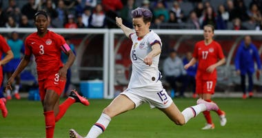U.S. forward Megan Rapinoe scores against Canada during the second half of a CONCACAF women's Olympic qualifying soccer match Sunday, Feb. 9, 2020, in Carson, Calif. The U.S. won 3-0.