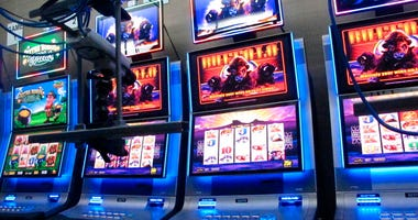 Slot machines in a secure room at the Hard Rock casino in Atlantic City N.J. that have been connected to the internet as part of a new product offering.