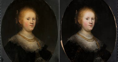 "This photo combo provided by Allentown Art Museum shows from left, before and after restoration of a painting called ""Portrait of a Young Woman."""