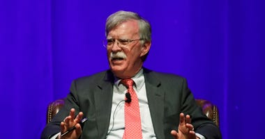 Former national security adviser John Bolton takes part in a discussion on global leadership at Vanderbilt University Wednesday, Feb. 19, 2020, in Nashville, Tenn.