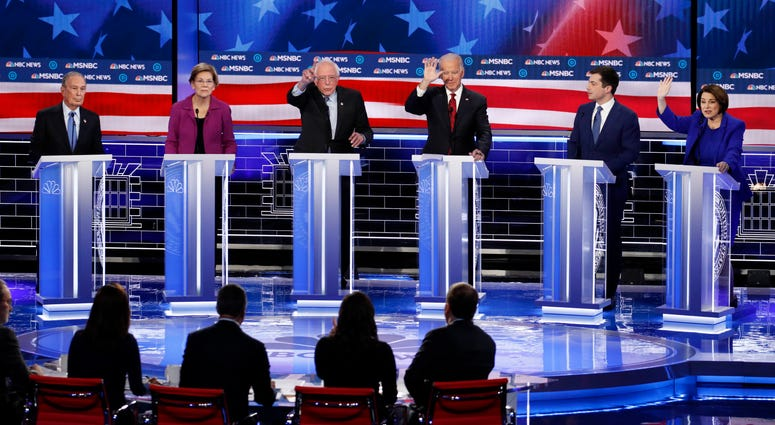 Former New York City Mayor Mike Bloomberg, Sen. Elizabeth Warren, Sen. Bernie Sanders, former Vice President Joe Biden, former South Bend Mayor Pete Buttigieg and Sen. Amy Klobuchar, participate in a Democratic presidential debate Wednesday in Las Vegas.