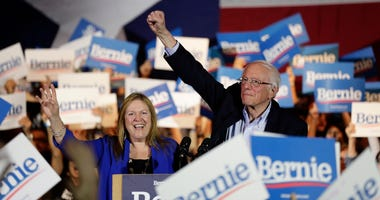 Democratic presidential candidate, Senator Bernie Sanders of Vermont, and his wife, Jane, during a campaign event in San Antonio, Texas, on Saturday, February 22, 2020.