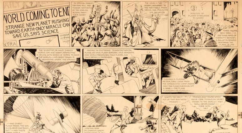 """This image released by Profiles in History shows original artwork for the """"Flash Gordon"""" comic strip that was first published in January 1934. The pencil-and-ink drawing by artist Alex Raymond will be auctioned on March 31."""