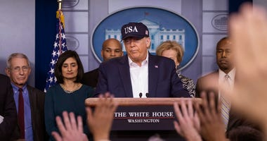 President Donald Trump speaks during a news conference about the coronavirus in the James Brady Briefing Room at the White House, Saturday, March 14, 2020, in Washington.