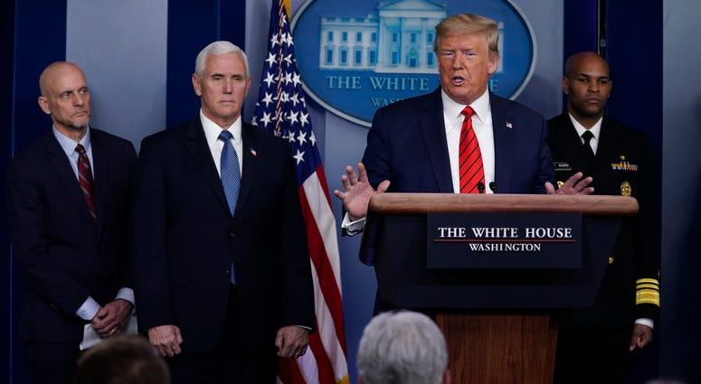 President Donald Trump speaks during press briefing with the coronavirus task force, at the White House, Thursday, March 19, 2020, in Washington.