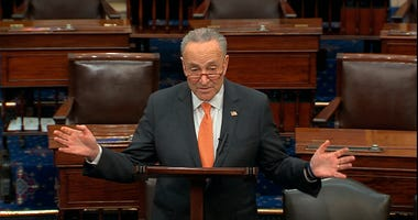 In this image from video, Senate Minority Leader Chuck Schumer, D-N.Y., speaks on the Senate floor at the U.S. Capitol in Washington, Saturday, March 21, 2020.