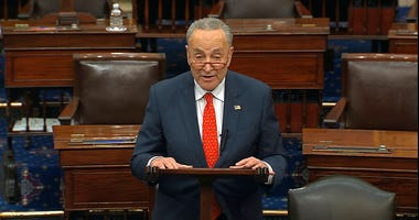 In this image from video, Senate Minority Leader Chuck Schumer, D-N.Y., speaks on the Senate floor at the U.S. Capitol in Washington, Wednesday, March 25, 2020.