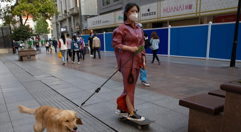 A resident gets a ride from her dog along a retail street in Wuhan in central China's Hubei province, Thursday, April 9, 2020.