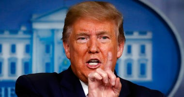 President Donald Trump speaks about the coronavirus in the James Brady Press Briefing Room at the White House, Monday, April 13, 2020, in Washington.