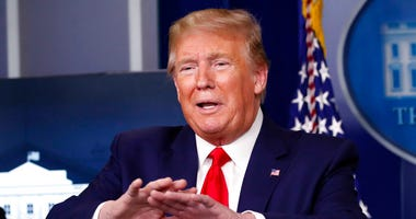 President Donald Trump speaks about the coronavirus in the James Brady Press Briefing Room of the White House, Monday, April 20, 2020, in Washington.