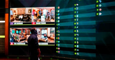 In a photo provided by ESPN Images, the draft board is seen before the start of the NFL football draft, Thursday, April 23, 2020, in Bristol, Conn.