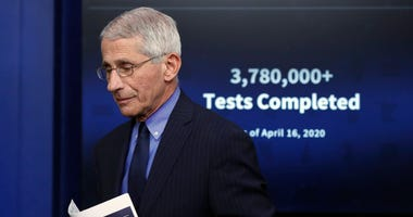Dr. Anthony Fauci, director of the National Institute of Allergy and Infectious Diseases, walks from the podium after speaking about the new coronavirus in the James Brady Press Briefing Room of the White House, in Washington, on Friday, April 17, 2020.