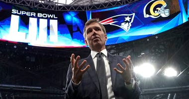NFL Chief Medical Officer Dr. Allen Sills gestures while speaking during a health and safety tour on Jan. 29, 2019, at Mercedes-Benz Stadium for the NFL Super Bowl 53 football game in Atlanta.
