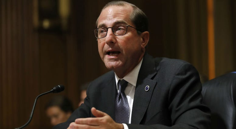 In this June 26, 2018 file photo, Health and Human Services Secretary Alex Azar speaks on Capitol Hill in Washington.