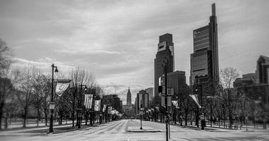 The Ben Franklin Parkway on Sunday, March 22, 2020.