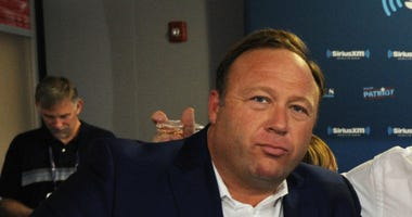 Alex Jones, of Infowars, is shown at the 2016 Republican National Convention in Cleveland, Ohio.