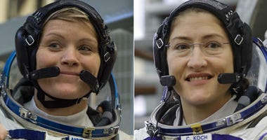 NASA astronauts Anne McClain (left) and Christina H. Koch (right)