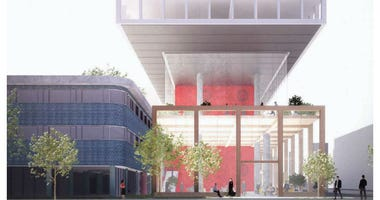 Renderings of how Health Center No. 1 will be incorporated in the new building.