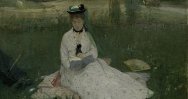 Berthe Morisot. Reading (The Green Umbrella), 1873. Oil on fabric, Cleveland Museum of Art, Gift of the Hanna Fund, 1950.89.