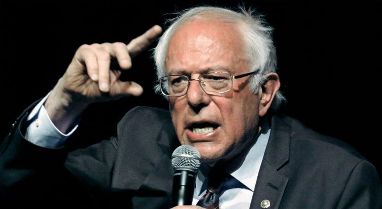 In this April 4, 2018, file photo, Sen. Bernie Sanders, I-Vt., responds to a question during a town hall meeting in Jackson, Miss.