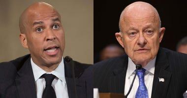 From left: Senator Cory Booker, D-New Jersey; former National Intelligence director James Clapper