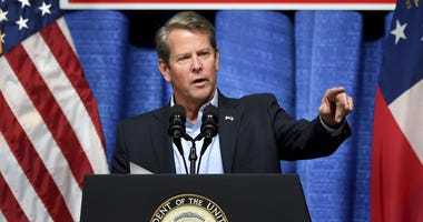 Georgia Republican gubernatorial candidate Brian Kemp speaks during a rally at the Columbia County Exhibition Center in Grovetown, Ga., on Nov. 1.