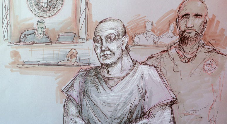 In this courtroom sketch, Cesar Sayoc, left, appears in federal court, Monday, Oct. 29, 2018, in Miami.