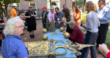 Artifacts from Christ Church in Old City were brought down to ground level for restoration.