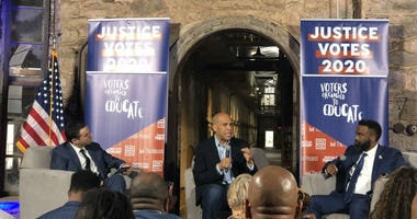 Sen. Cory Booker taking questions from formerly incarcerated people at Eastern State Penitentiary.